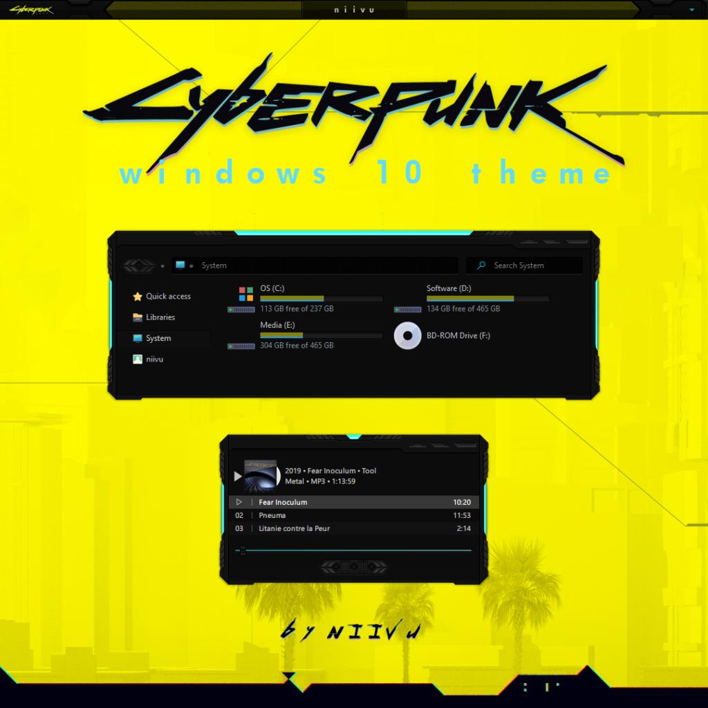 Cyberpunk 2077 theme for Windows 10